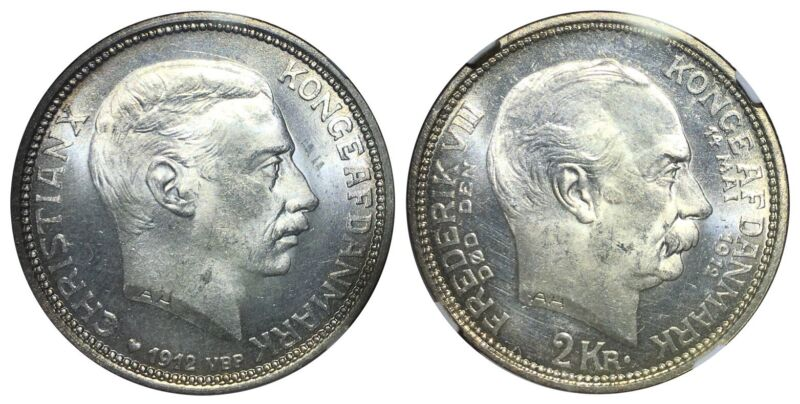 NGC MS66 Denmark 1912 2 Kroner Death of Frederik VIII Accession of Christian X