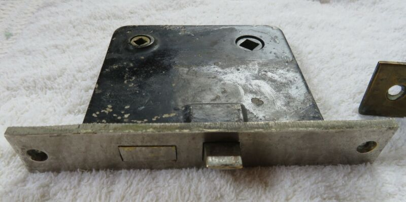 Antique Mortise Door Lock Chrome Plated Faceplate NO KEY