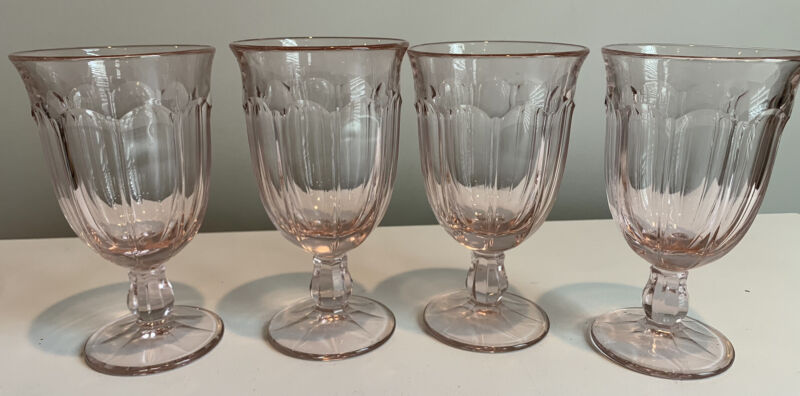 Set of 4!  Beautiful Pink Glass Iced Tea Goblets