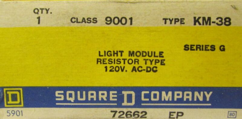 SQUARE D 9001 KM 38 120V Resistor Type Pilot Light Module 9001 KM-38