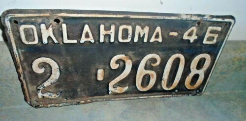 1946 Oklahoma License Plate #2-2608