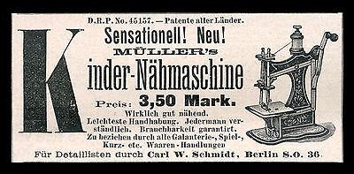 Alte Reklame 1888 Müller´s Kinder-Nähmaschine Spielzeug Carl W. Schmidt Berlin (Nähmaschine Spielzeug)