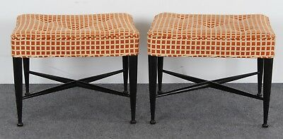 Pair of Edward Wormley Mid Century Modern X-Base Benches, 1950s