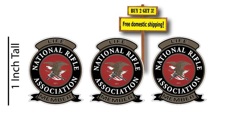 "NRA Logo Full Color Guns Motor Cycle 1"" Decal Sticker (1 Pack =3 Decal Stickers)"
