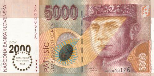 "UNC 5000 korun banknote Slovakia overprint ""BIMELINIUM"""