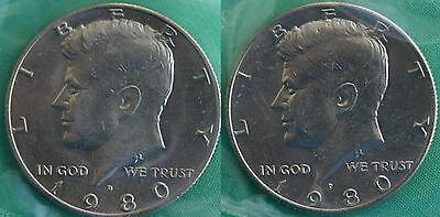 1980 P & D KENNEDY HALF DOLLAR COIN FROM US MINT SET 2 BU CELLOS CELLO HALVES