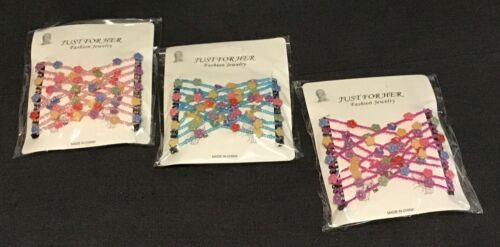 Just For Her Hair Combs Beaded Lot of 3 Fashion Jewelry NIP