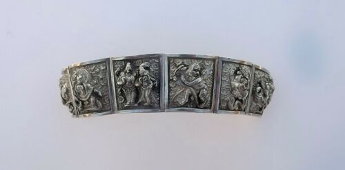 Antique Asian Buddhist Gods Sterling Silver Heavy Bracelet Repousse