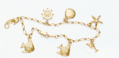 Beach Nautical Theme Anklet 9 in. 24k Yellow Gold Plated Dolphin Seahorse Fish  - Nautical Themed Plates