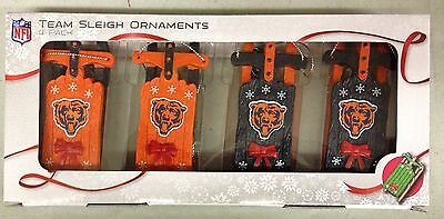 (Chicago Bears Sled Sleigh Holiday Christmas Tree Ornaments 4 pack NEW - RARE)