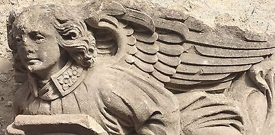Large 19th Century Carved Stone Angel