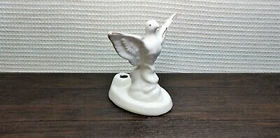 Vintage Mini Porcelain Figurine Bird Pigeon Gilding White USSR Soviet UK