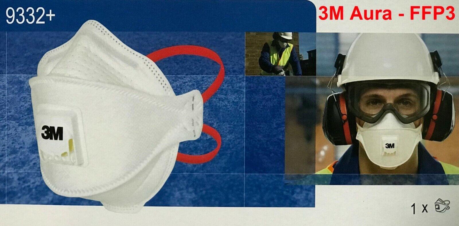 1St. 3M Aura Atemschutzmaske 9332+ Feinstaubmaske FFP3 NR D Schutzmaske Ventil