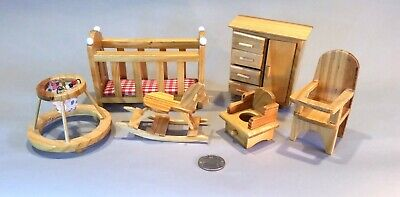 Dollhouse Nursery Furniture Set, lot of 6, wooden (Lot 2)