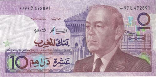 1987 10 DIRHAMS MOROCCO CURRENCY BANKNOTE NOTE MONEY BANK BILL CASH AFRICA XF
