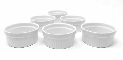 Furmaware White Porcelain 6oz Set of 6-Piece Baking & Serving Ramekins