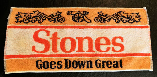 Vintage Pub Towel Beer Bar Accessory Man Cave Stones Goes Down Great