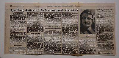 AYN RAND - TWO NEW YORK TIMES CLIPPINGS