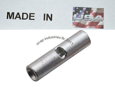 14-16 GAUGE 100 PK UNINSULATED NON INSULATED BUTT CONNECTOR CRIMP SEAMLESS USA