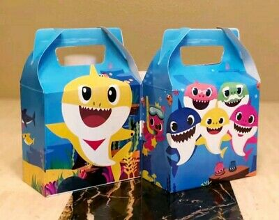 8 Baby Shark Party Favor Box Loot Bags Kids Birthday Party Supplies Treat Bags