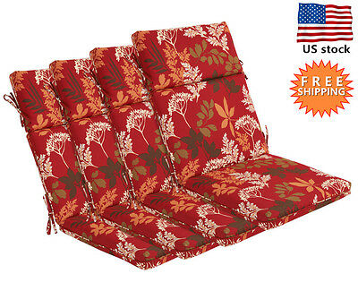 Bossima Outdoor Seat Cushions Patio High Back Dining Home Chair Floral Set of 4 Floral Chair Cushion
