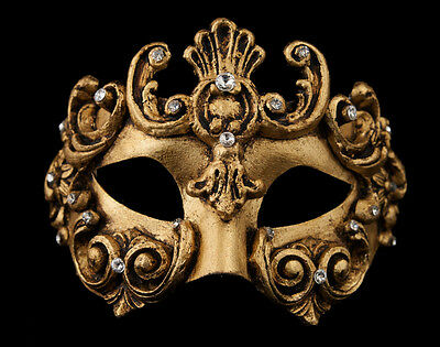 Mask from Venice Colombine Barocco Bronze Golden Authentic Paper Mache -1962