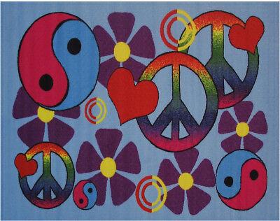 Yin Yang Rug (Multi-Color Yin-Yang Peace Hearts Flowers Contemporary Area Rug Circles)