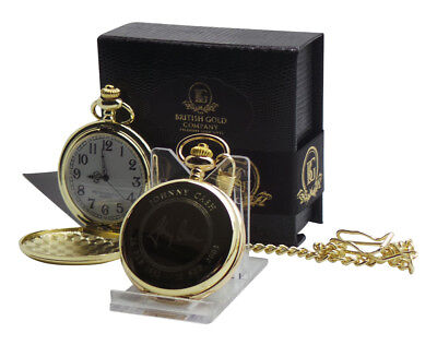 JOHNNY CASH Signed Autographed 24K GOLD Clad Pocket Watch and Chain Gift Case
