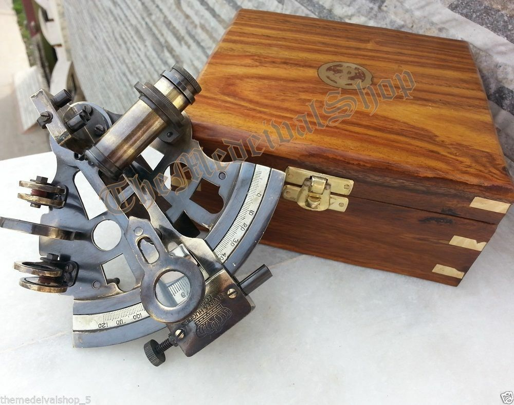 COLLECTIBLE GERMAN ASTROLABE MARINE BRASS NAUTICAL SEXTANT & WOODEN BOX GIFT