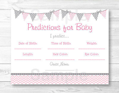 Modern Baby Shower Games (Modern Pink Chevron Baby Shower Baby Predictions Game Cards)