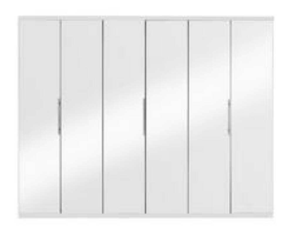 Prague 6-Door Wardrobe. **WHITE**MIRRORED DOORS* H 200cm, W 240cm, D 52 cm. *FLAT PACK*