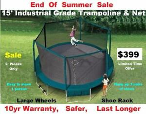 15' Trampolines & Enclosure Industrial Grade,End Of Summer Sale $399,Save $200,10 yr Warranty, Great Bounce,Safer,Sturdy