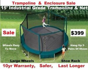 Trampoline & Enclosure Sale,8',11',12',13'14',(15'ft &17' Industrial Grade) 10 yr Warranty, Shipping Available