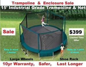 15' &17' Industrial Grade Trampolines & Enclosure Sale $399 & $499,10 yr Warranty,Shipping,Other Sizes  Available