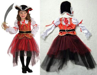 Kids Girl  Pirate Capain Fancy Dress Costume Carnival Xmas Cosplay Party - Pirate Outfits