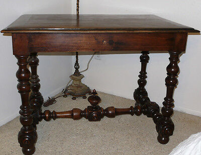 CIRCA 1860 * FRENCH WALNUT SIDE TABLE WITH TURNED LEGS * IMPORTED FROM FRANCE.