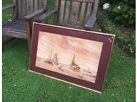Antique Watercolour Seascape Painting Signed Miller