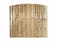 "LAWMAC FENCING Manufactures Fence Panels Arched 6`x 3' Brown Highest point 3'6"" Green/Brown"