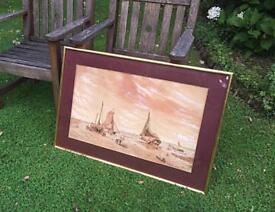 Antique Watercolour Seascape Painting Gilt Wood Frame Signed Miller