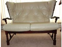Two Seater White Leather Sofa & Matching Chairs