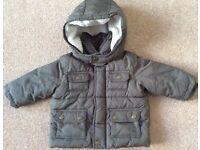Baby Gap Khaki Hooded Jacket 6 - 12 Months - Bargain £4