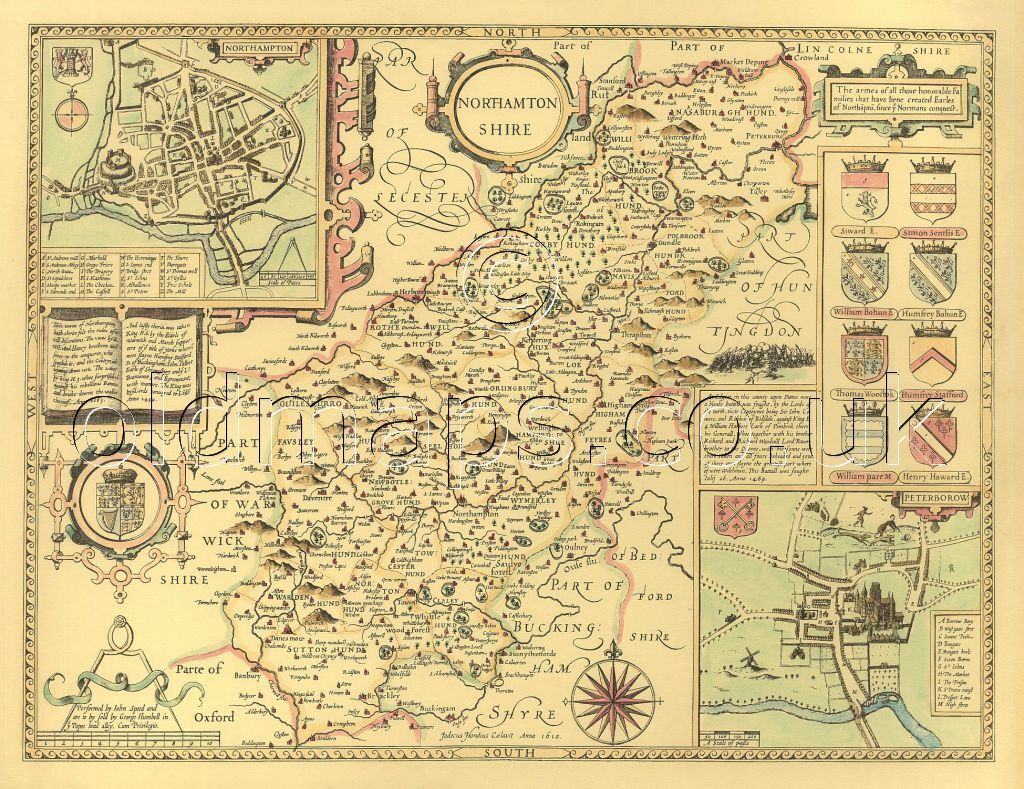 Denbighshire map Full Size Printed Replica Old John Speed 17c 1610 UNIQUE GIFT