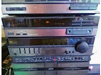 Aiwa stereo system with turntable, amplifier amp, cassettes and speakers