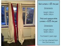 Red curtains and White curtains