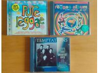 Three CDs, Pure Reggae 2 disc, The best reggae album..2 disc, Temptations greatest hits.