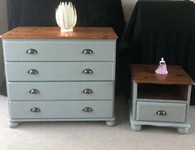Beautiful Solid Wood Drawer Chest Set. Grey Chalk Paint Finish. Excellent condition