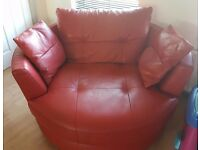 Price reduced.DFS red leather love swing chair
