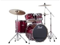 "Pearl Export 22"" Fusion 5 Piece Drum Kit in Red Wine Inc. Chrome Hardware + Cymbals"