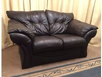 Brown Leather 2 Seater Sofa Leather Settee - See Delivery