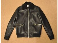 TOPMAN Leather Jacket Black Size Small